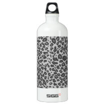 Gray leopard print water bottle