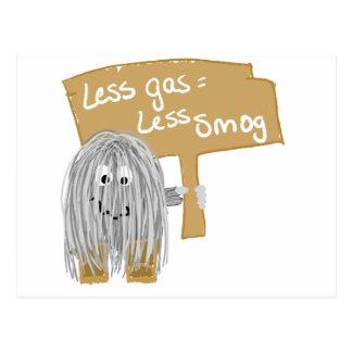 gray less gas less smog postcard