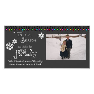 Gray Let's Be Jolly Christmas Holiday Photo Card