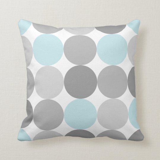 Gray & Light Blue Turquoise Round Circle Pattern Throw Pillow Zazzle