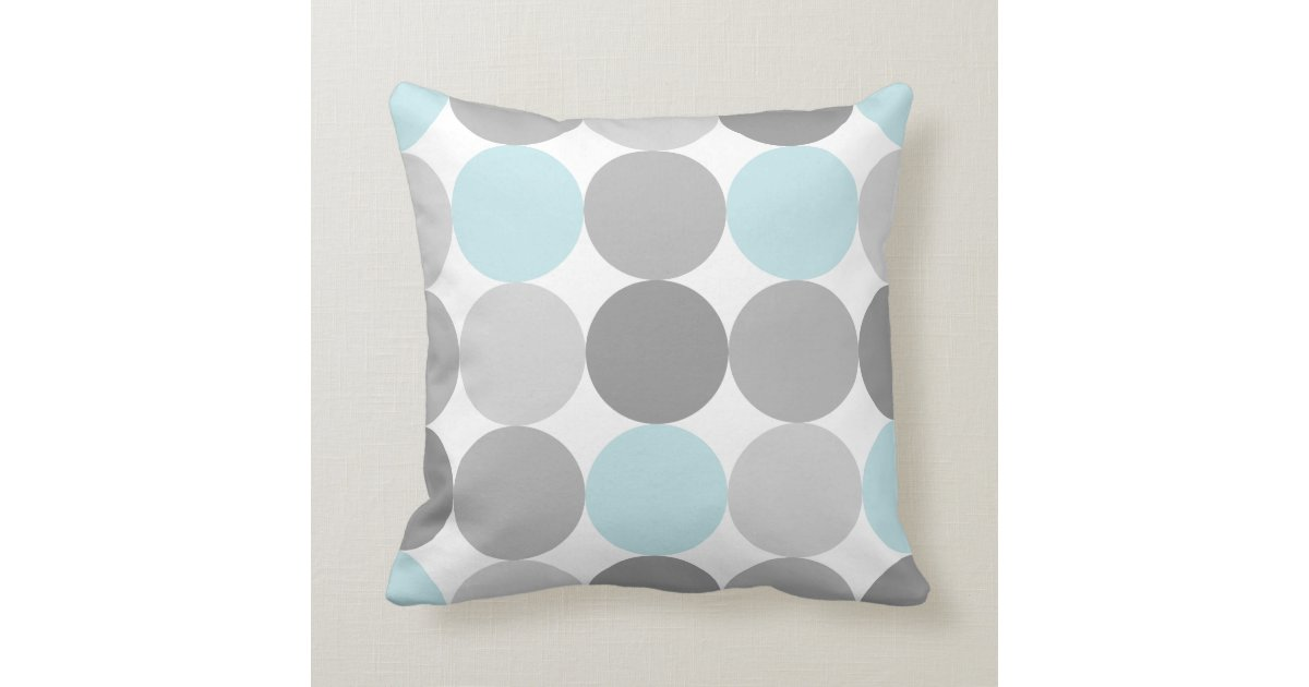 Circle Design Throw Pillows : Gray & Light Blue Turquoise Round Circle Pattern Throw Pillow Zazzle
