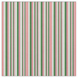[ Thumbnail: Gray, Light Coral, Dark Green & Mint Cream Stripes Fabric ]