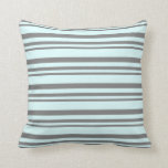 [ Thumbnail: Gray & Light Cyan Striped/Lined Pattern Pillow ]