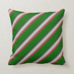 [ Thumbnail: Gray, Light Gray, Dark Grey, Brown, and Dark Green Throw Pillow ]