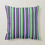 [ Thumbnail: Gray, Light Green, Black, Dark Violet & Light Cyan Throw Pillow ]