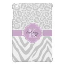 Gray & Lilac Chic Animal Print Custom Monogram iPad Mini Cases
