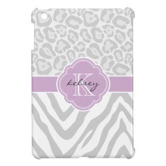 Gray & Lilac Chic Animal Print Custom Monogram iPad Mini Cases
