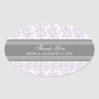 Gray Lilac Damask Thank You Wedding Favor Tags Oval Stickers