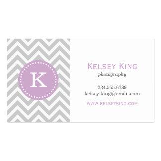 Gray Lilac Purple Chevron Custom Monogram Business Card