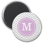 Gray & Lilac Purple Modern Chevron Custom Monogram 2 Inch Round Magnet