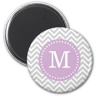 Gray & Lilac Purple Modern Chevron Custom Monogram Magnet