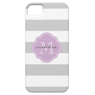 Gray & Lilac Purple Wide Stripes Custom Monogram iPhone SE/5/5s Case