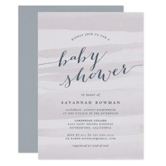 Gray Lilac Watercolor Baby Shower Invitation