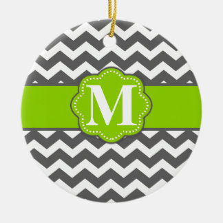 Gray Lime Green Chevron Monogram Ceramic Ornament