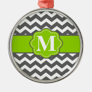 Gray Lime Green Chevron Monogram Metal Ornament