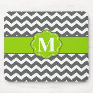 Gray Lime Green Chevron Monogram Mouse Pad