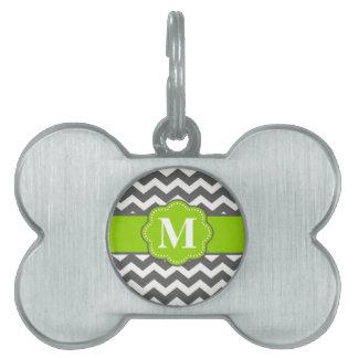 Gray Lime Green Chevron Monogram Pet Tag