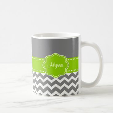 Coffee Themed Gray Lime Green Chevron Personalized Mug