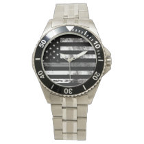 Gray Line Flag Correctional Officer Men's Watch