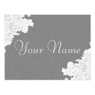 Gray Linen and Lace Notice Card