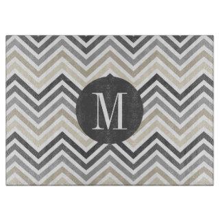 Gray & Linen Beige Chevron Pattern with Monogram Cutting Boards