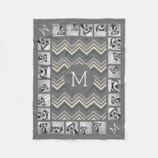 Gray & Linen Beige Chevron Pattern with Monogram Fleece Blanket