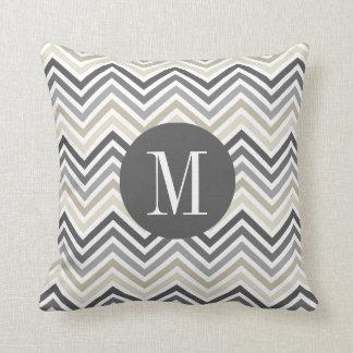 Gray & Linen Beige Chevron Pattern with Monogram Throw Pillow