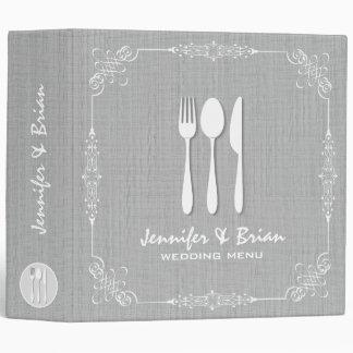 Gray Linen Burlap White Frame Wedding Menu 2 Binder