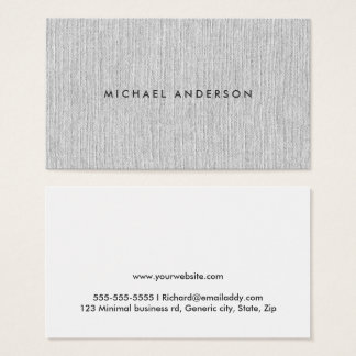 Gray linen business cards - printed texture