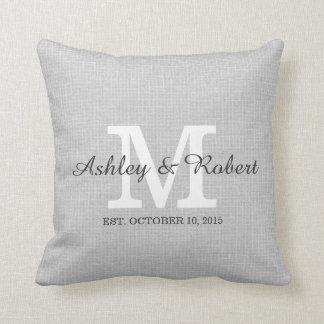 Gray Linen Coal White Monogram Wedding Keepsake Throw Pillows