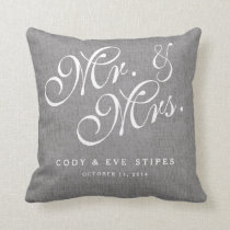 Gray Linen Initials Mr. and Mrs. Wedding Pillow