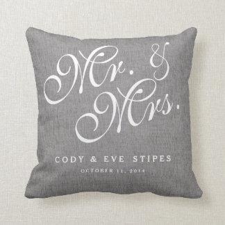 Gray Linen Initials Mr. and Mrs. Wedding Pillow