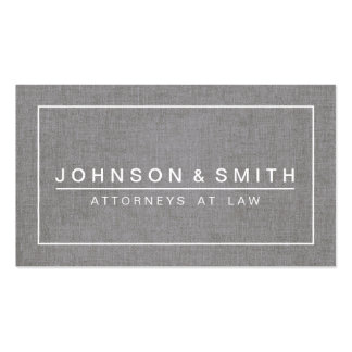 GRAY LINEN MODERN ATTORNEY LAW OFFICE Double-Sided STANDARD BUSINESS CARDS (Pack OF 100)