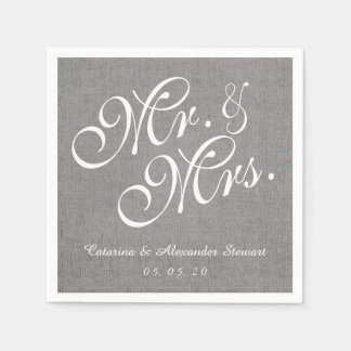 Gray Linen Mr. and Mrs. Wedding Paper Napkins