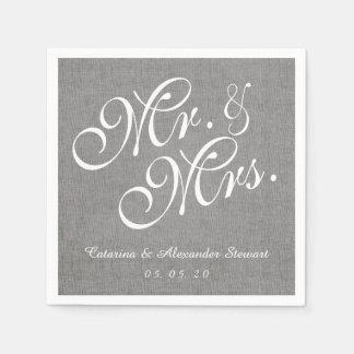 Gray Linen Mr. and Mrs. Wedding Paper Napkins