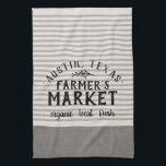 "Gray Linen Stripes Custom Farmer&#39;s Market Towel<br><div class=""desc"">Modern farmhouse stripe farmer&#39;s market kitchen towel personalized with your city, family name or other custom text. Please note that the subtle linen texture is part of the printed design and the product is not made of real linen fabric. Click the Customize It button to add your own text and...</div>"