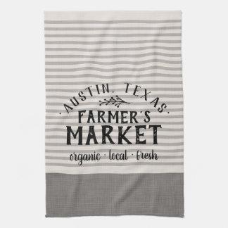 Gray Linen Stripes Custom Farmer's Market Towel