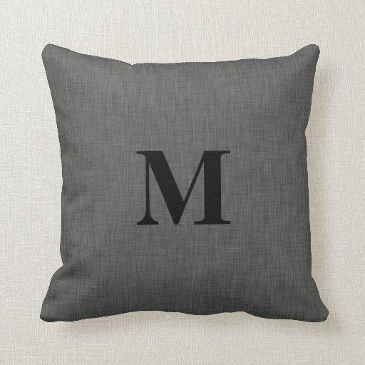 Gray linen texture monogram initial pillow