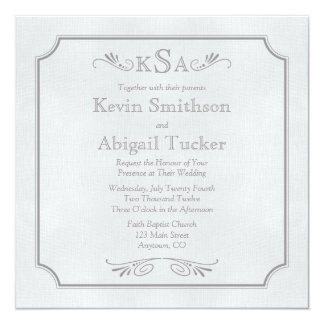 Gray Linen Wedding Invitations or Announcements