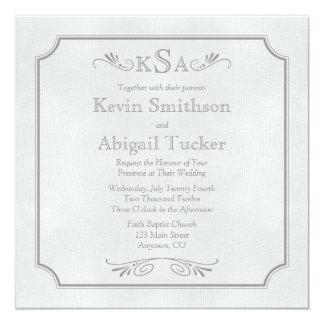 """Gray Linen Wedding Invitations or Announcements 5.25"""" Square Invitation Card"""