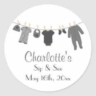 Gray Little Clothes Baby Sip and See Stickers