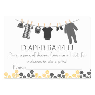 Gray Little Clothes Diaper Raffle Tickets Large Business Cards (Pack Of 100)