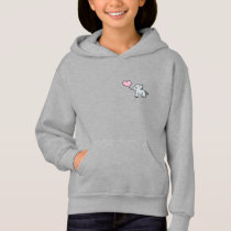 Gray little elephant love hoodie for girls
