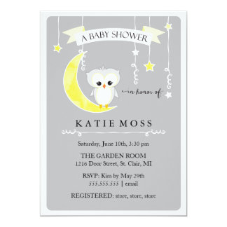 "Gray Little Owl | Baby Shower Invitation 5"" X 7"" Invitation Card"