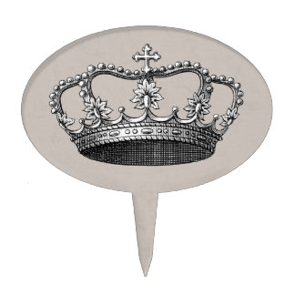 Gray Little Prince Crown Baby Shower Cake Topper