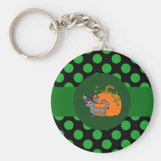 Gray Long Hair Chihuahua with Pumpkin & Green Dots Basic Round Button Keychain