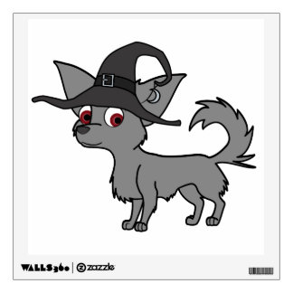 Gray Long Haired Chihuahua with Witch Hat Wall Stickers