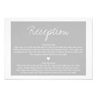 Gray Love  Wedding Direction Reception Cards Personalized Invitation
