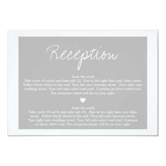 "Gray Love  Wedding Direction Reception Cards 3.5"" X 5"" Invitation Card"