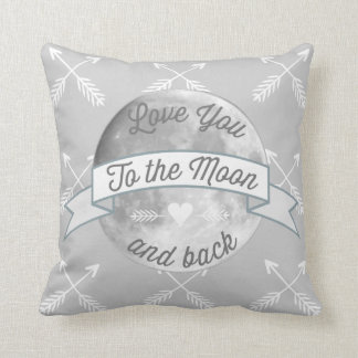 Gray Love You to the Moon Arrow Pattern Pillow